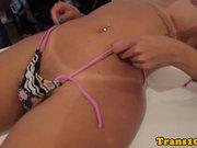 Tattooed tgirl seductively teasing the camera