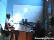 Blonde secretary gets nailed in the office
