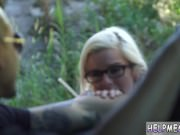 Blowjob tears Halle Von is in town on