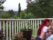 Sexy Red-Head Caught Fucking On Porch