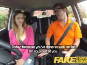Fake Driving School hot young Italian learner with big natural tits