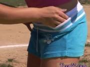 Fingering public striptease Sporty teens