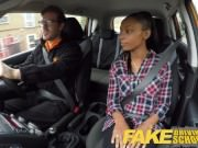 Fake Driving School natural busty young ebony in lesbian sex for a pass