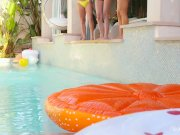 When Girls play -Poolside threesome with Abigail Mac, Ariana Marie, Nicole